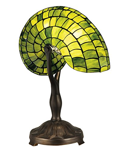 Green Sea Shell Shaped Glass Table Lamp