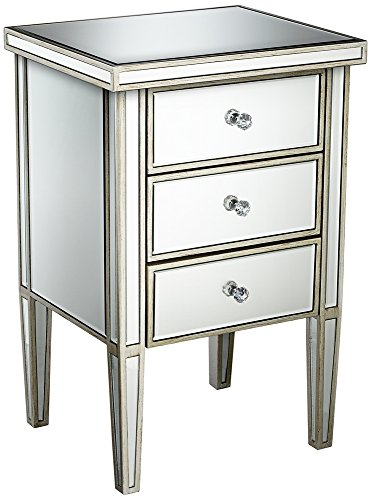 Antique Silver 3-Drawer Mirrored Accent Table