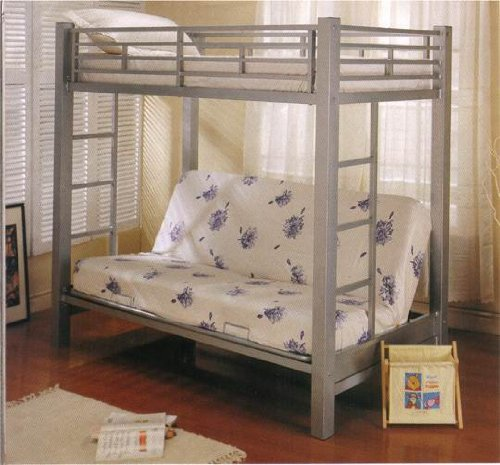 Cute Metal Futon Bunk Bed in Silver Finish