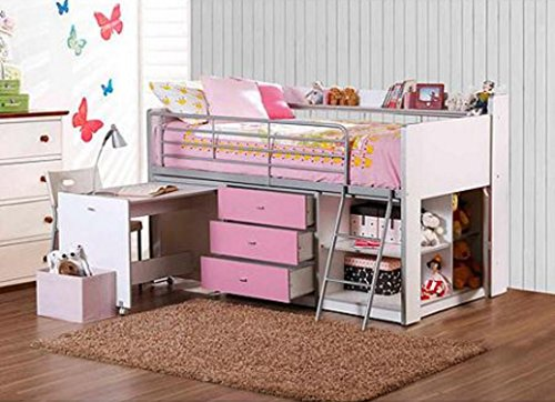 Cute Loft Bed with Storage and Work Desk