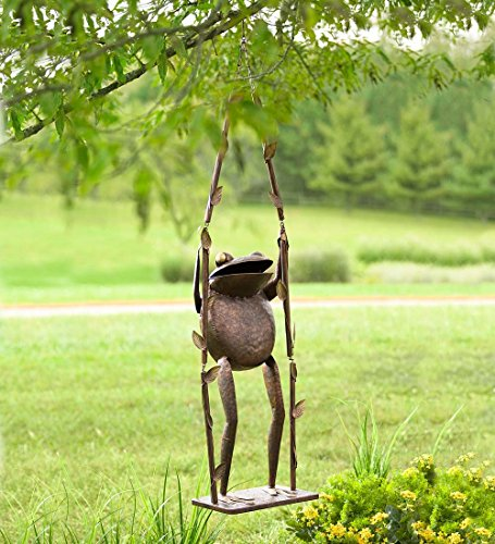 Giant Iron Frog on a Swing Decor
