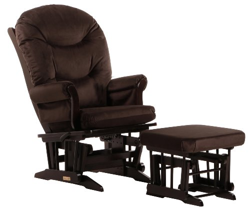 Chocolate Brown Glider Recliner and Ottoman Combo