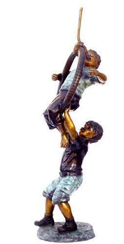 Two Boys on Tire Swing Life Sized Solid Bronze Garden Sculpture