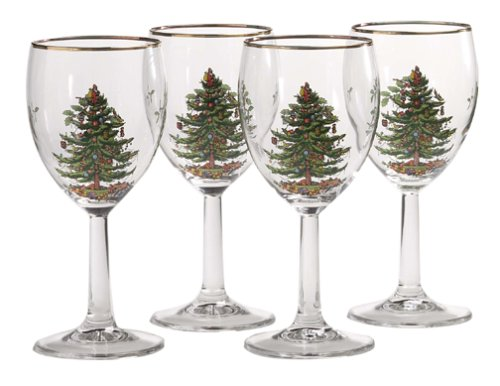 Christmas Tree Decorated Wine Goblets