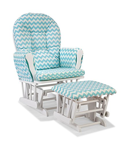 Pretty Glider and Ottoman, White/Turquoise Chevron