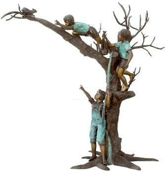 Three Boys Chasing A Squirrel On A Tree Solid American Bronze Statue