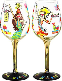 Birthday Girl Handpainted Wine Glass