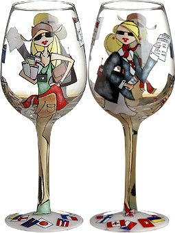 Business or Pleasure Handpainted Wine Glass