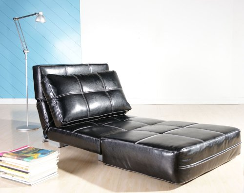 Beautiful and Very Comfortable Large Black Chair Bed