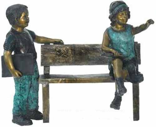 Two Children on Bench Solid Bronze Sculpture