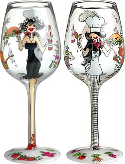 Bon Appetit Handpainted Wine Glass