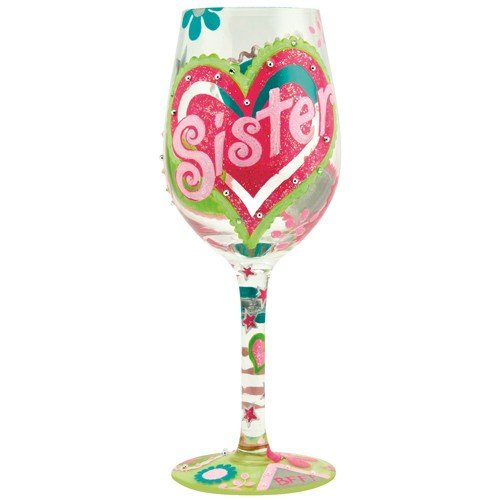 Sister Hand Painted Wine Glass