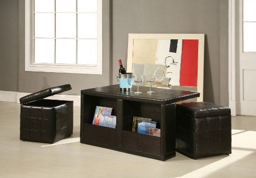 Bicast Leather Coffee Table with Two Storage Stools