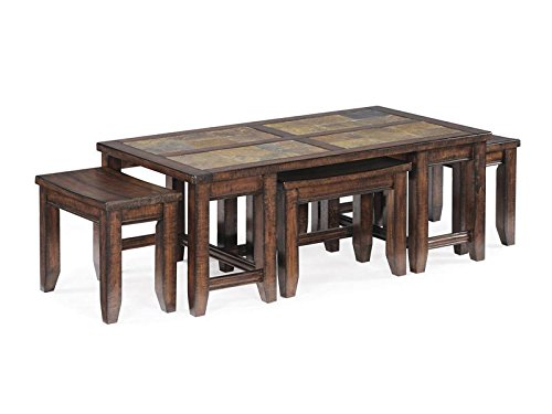 Unique Wood Rectangular Cocktail Table with Stools