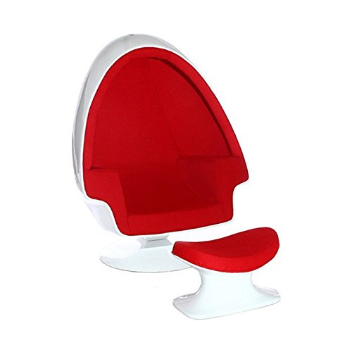 Red and White Egg Shaped Chair and Ottoman