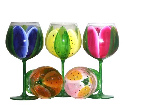 Tulip Design Hand Painted Wine Glasses