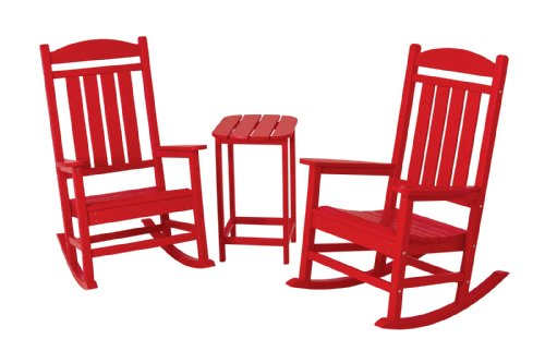 Cute RED Rocking Chair Set with Side Table