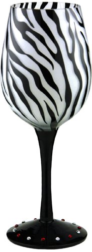 Zebra Black Handpainted Wine Glass