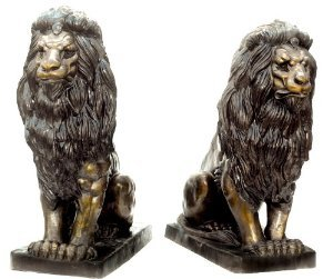 Pair of Seated Sentry Lions Solid Bronze Sculptures