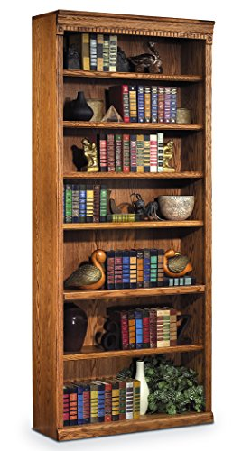 Classic Style Burnished Oak Seven Shelf Bookcase
