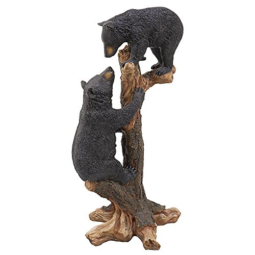 Cute Climbing Black Bear Cubs Statue