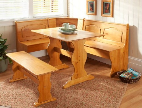 Affordable Solid Wood Dining Booth Set