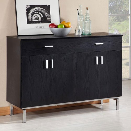 Contemporary Style Black Finish Buffet Server Cabinet
