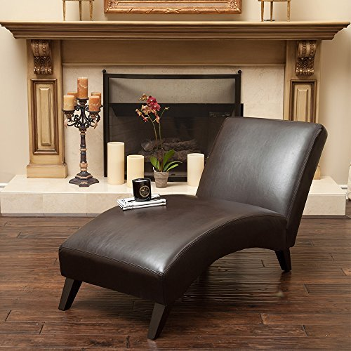 Brown Leather Curved Chaise Lounge Chair