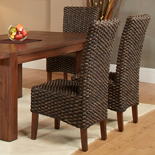 Dark Brown Wicker Dining Chairs