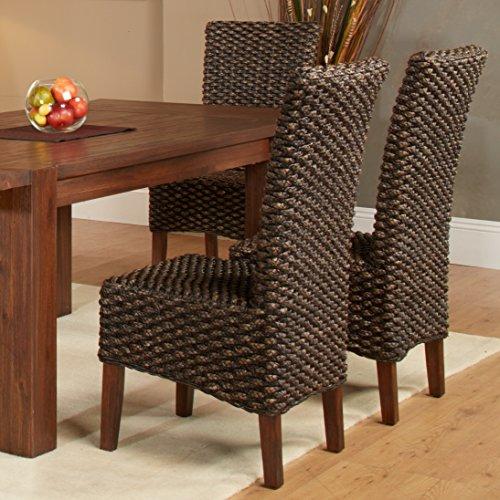 Dark Brown Wicker Dining Chairs
