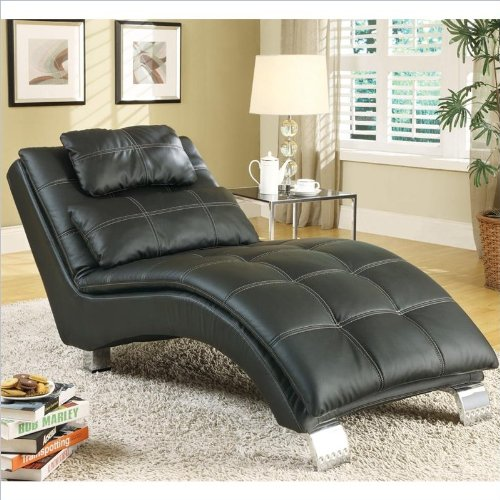 Contemporary Indoor Chaise, Black
