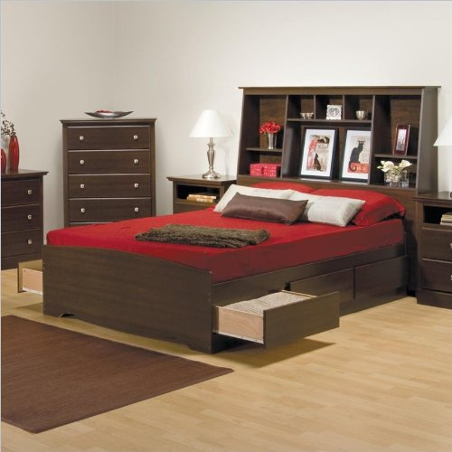 Full Size Tall Bookcase Platform Storage Bed