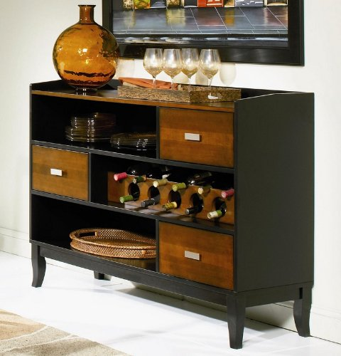 Casual Server Cabinet, Black and Cherry