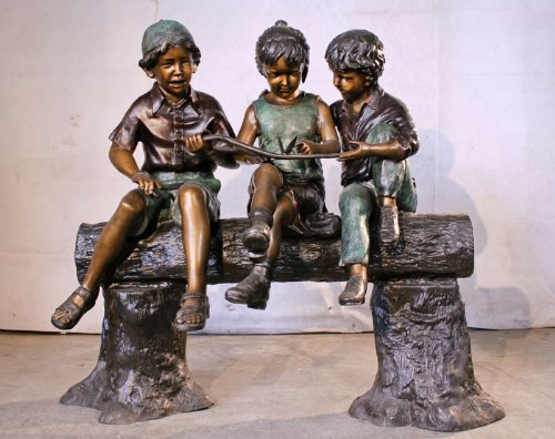 Children Sitting On A Log Life Size Solid American Bronze Monumental Size Statue