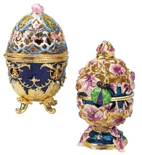 Cute Russian Royal Garden Faberge-style Collectible Enameled Eggs