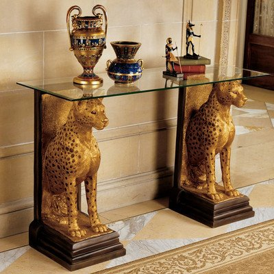 Royal Egyptian Cheetahs Sculptural Glass Topped Console Table