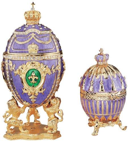 Tiny Russian Faberge Style Purple Fleur-de-lis Classic Enameled Egg