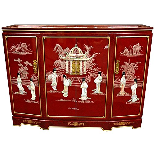 Beautiful Red Lacquer Chinese Cabinet