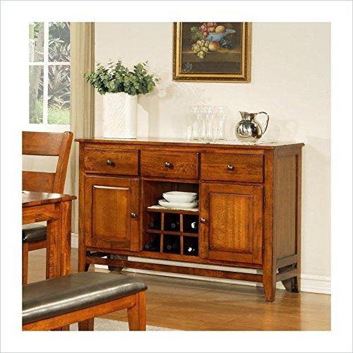 Solid Mango Wood Server Cabinet in Light Oak Finish