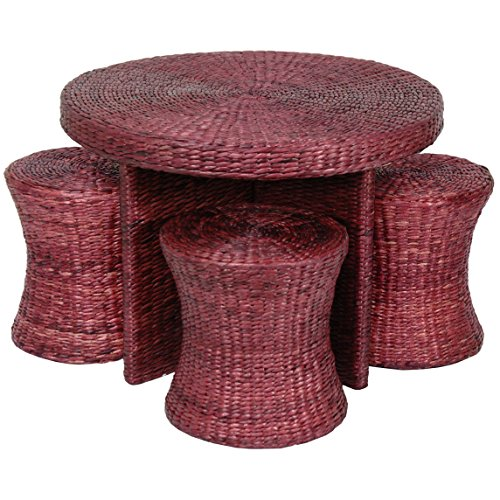 Cute Rattan Style Coffee Table with Four Stools