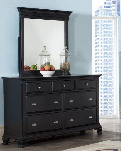 Black Wood 7-Drawer Dresser and Mirror