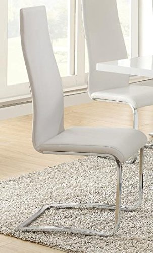 Modern White Faux Leather Dining Chairs with Chrome Legs