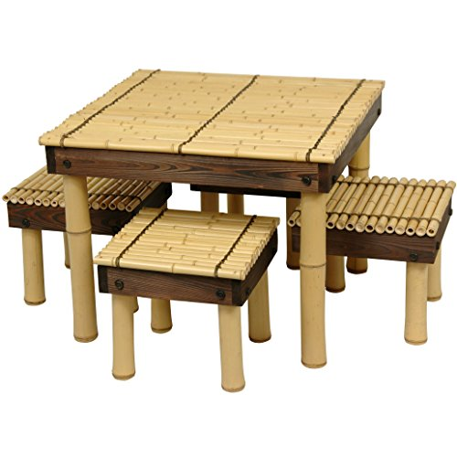 Cute Zen Bamboo Coffee Table with Four Stools
