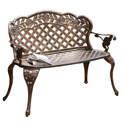 Cast Aluminum Flower Outdoor Garden Bench