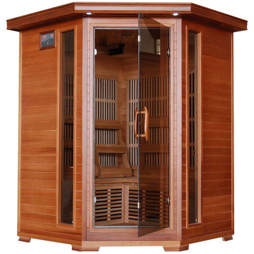 3-Person Red Cedar Corner Carbon Infrared Sauna with 7 Heaters