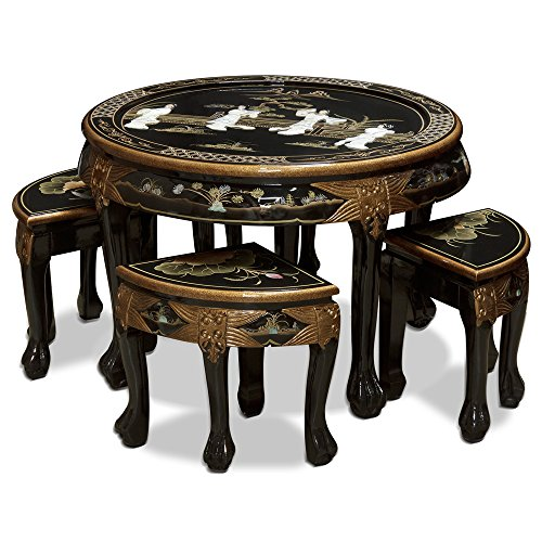 Beautiful Asian Style Mother of Pearl Round Cocktail Table with 4 Stools
