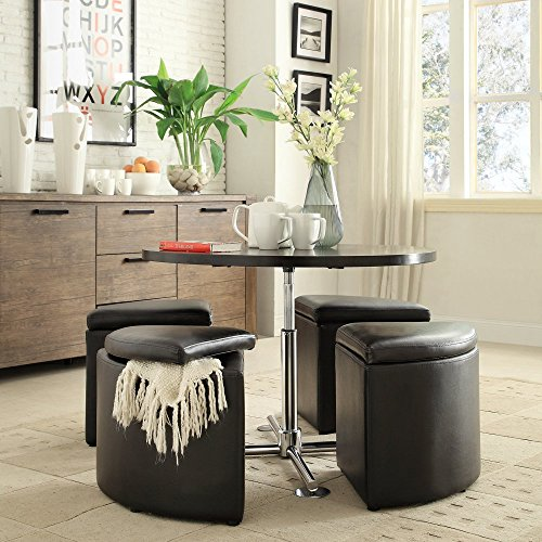 Hydraulic Lift Cocktail Table with Storage Ottomans