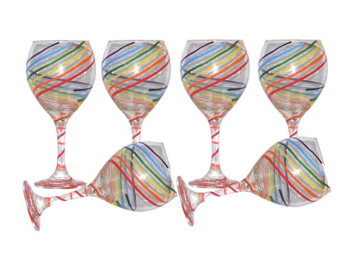 Festive Balloon Wine Glasses with Colorful Spiral Design