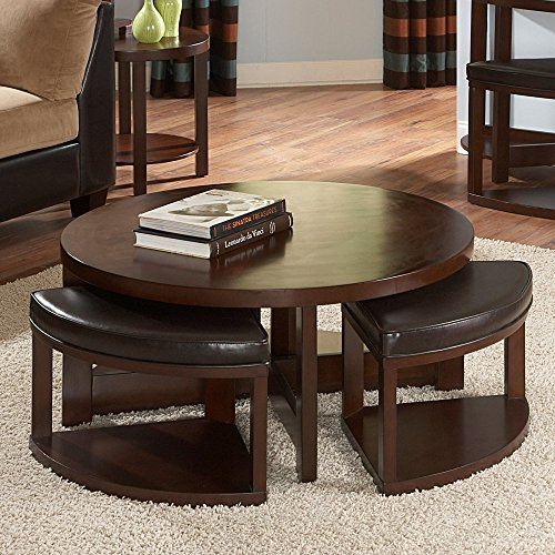 Cute Round Brown Wood Coffee Table with 4 Ottomans