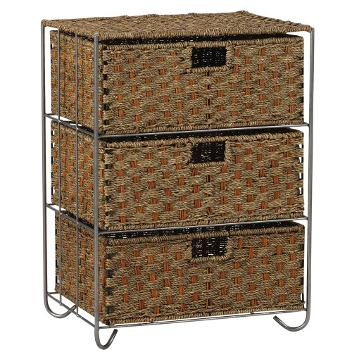 Cute Woven Seagrass and Rattan Storage Unit